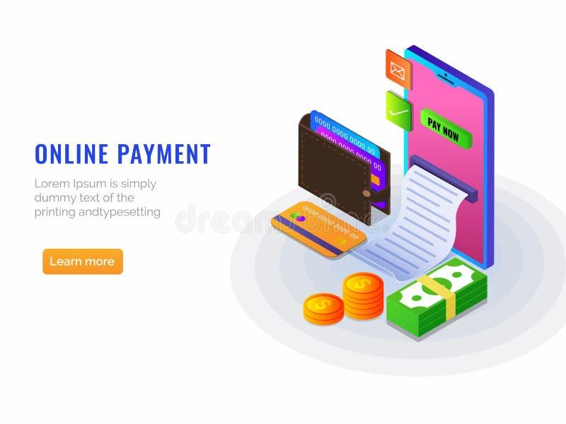 Isometrisk online-betalning från app-begrepp Internetbetalningar förbi royaltyfri illustrationer