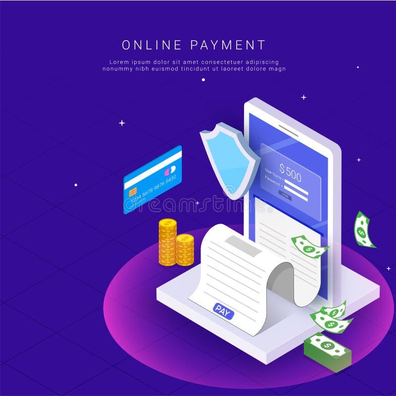 Isometrisk online-betalning från app-begrepp Internetbetalningar förbi vektor illustrationer