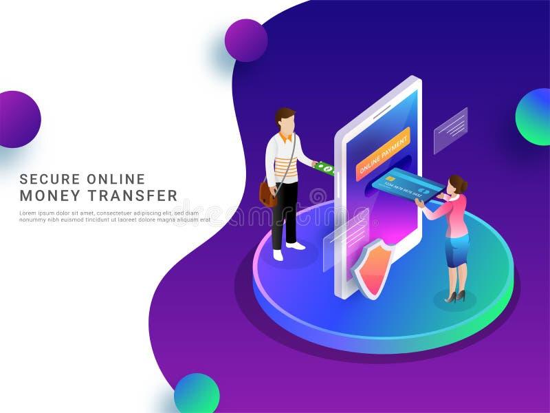 Isometrisk online-betalning vid mobilen, säker pengaröverföring eller mo royaltyfri illustrationer