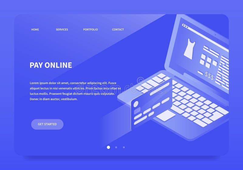 Isometrisk online-betalninglandningsida stock illustrationer