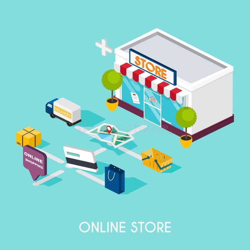 Isometrisk online-shopping för plan rengöringsduk 3d E-kommers som är elektronisk vektor illustrationer