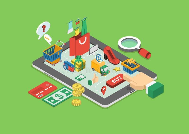 Isometrisk online-shopping för plan rengöringsduk 3d, infographic begrepp för försäljningar royaltyfri illustrationer