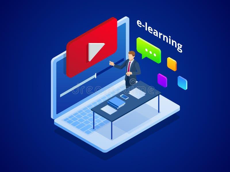 Isometrisk online-video utbildning eller orubbligt E-lära vid den webinar utbildningen Online-utbildning på det videopd bloggbegr royaltyfri illustrationer