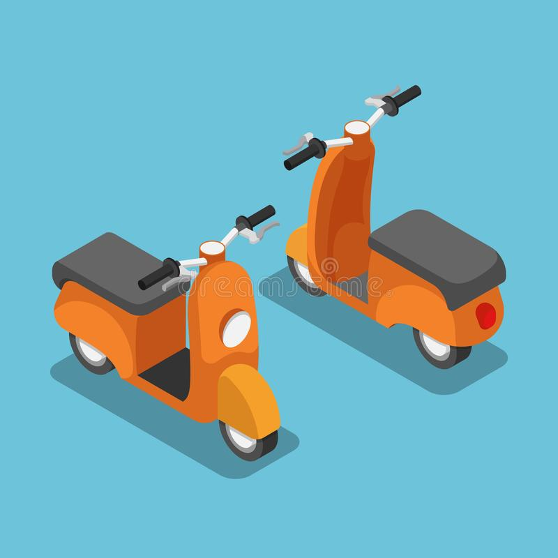 Isometrisk orange sparkcykel eller motorcykel royaltyfri illustrationer
