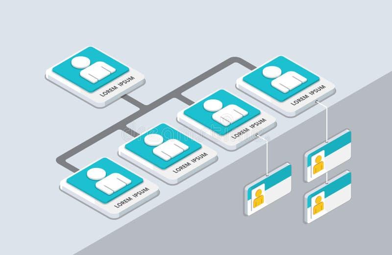 Isometrisk organisation och sturcture plan pop-u för organisation 3d stock illustrationer