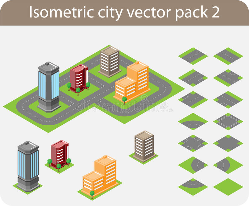 isometrisk packe för 2 stad vektor illustrationer
