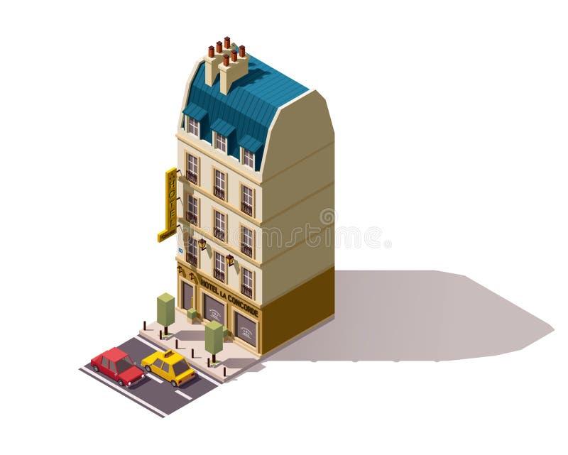 Isometrisk Paris för vektor byggnad stock illustrationer