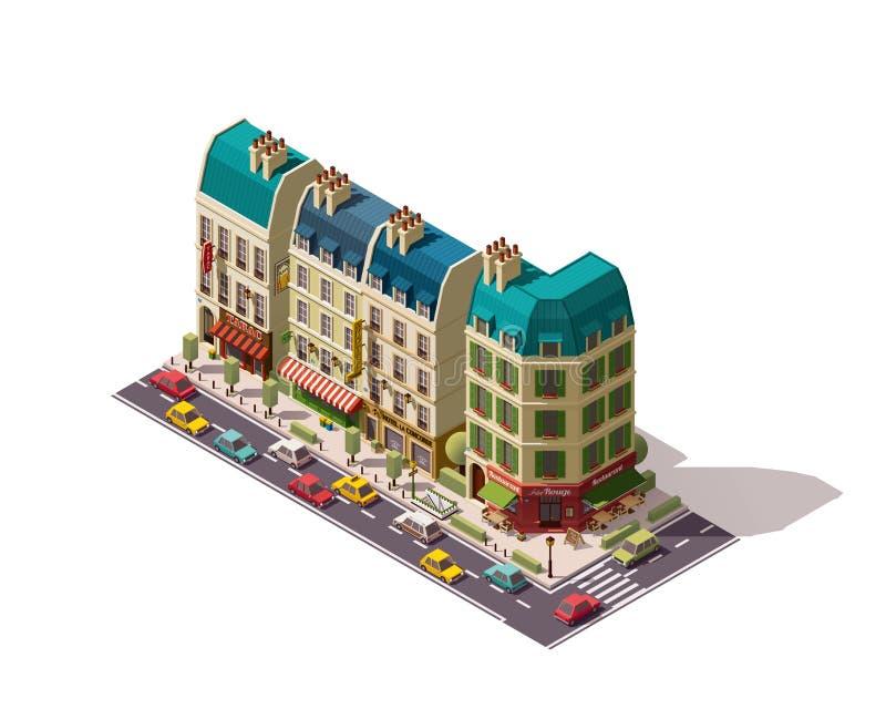 Isometrisk Paris för vektor gata stock illustrationer