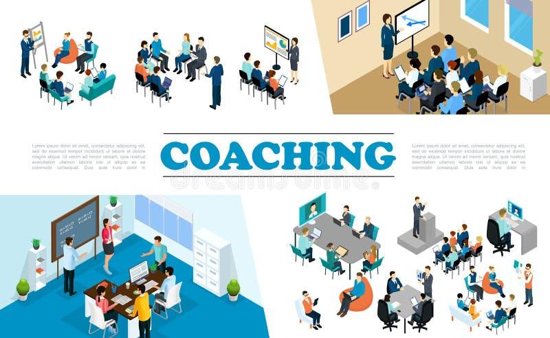 Isometrisk personalaffär som arbeta som privatlärare åt sammansättning stock illustrationer