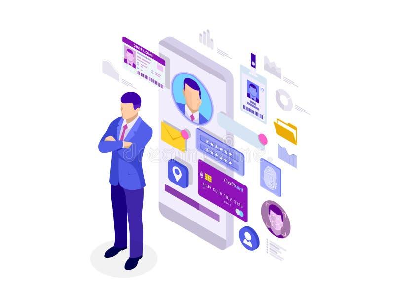 Isometrisk personlig App för information om data, privat begrepp för identitet Digitala data säkrar banret Biometricsteknologi vektor illustrationer