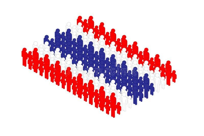 Isometrisk pictogram för familjförälder- och ungesymbol i raden, illustration för design för begrepp för Thailand nationsflaggafo vektor illustrationer