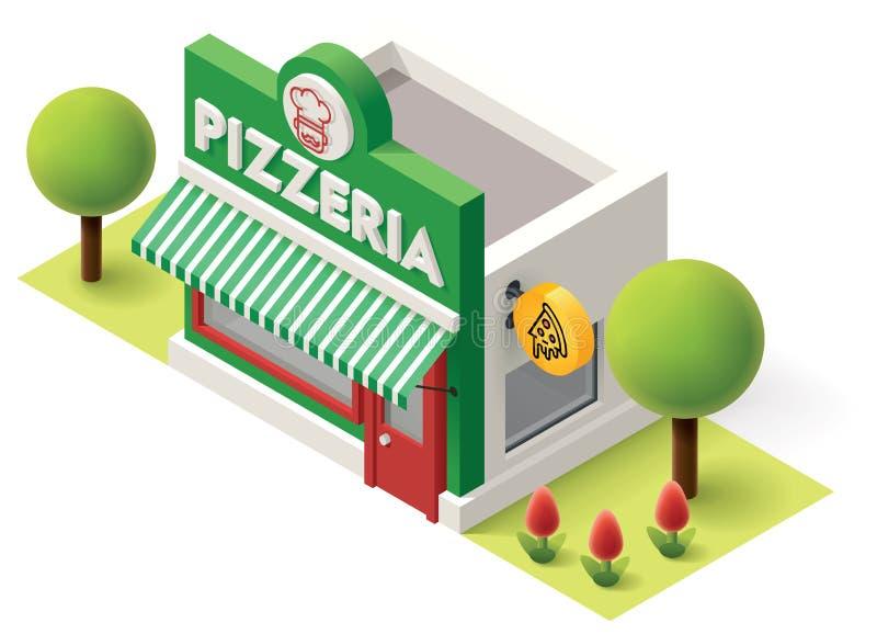 Isometrisk pizzeria för vektor vektor illustrationer
