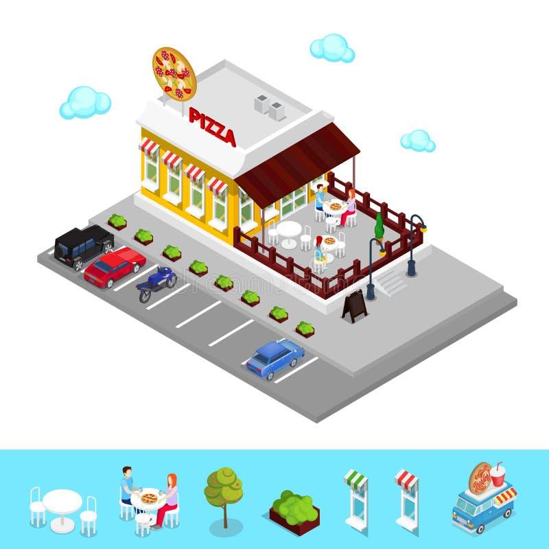 Isometrisk pizzeria Modern restaurang med parkeringszon och folk royaltyfri illustrationer