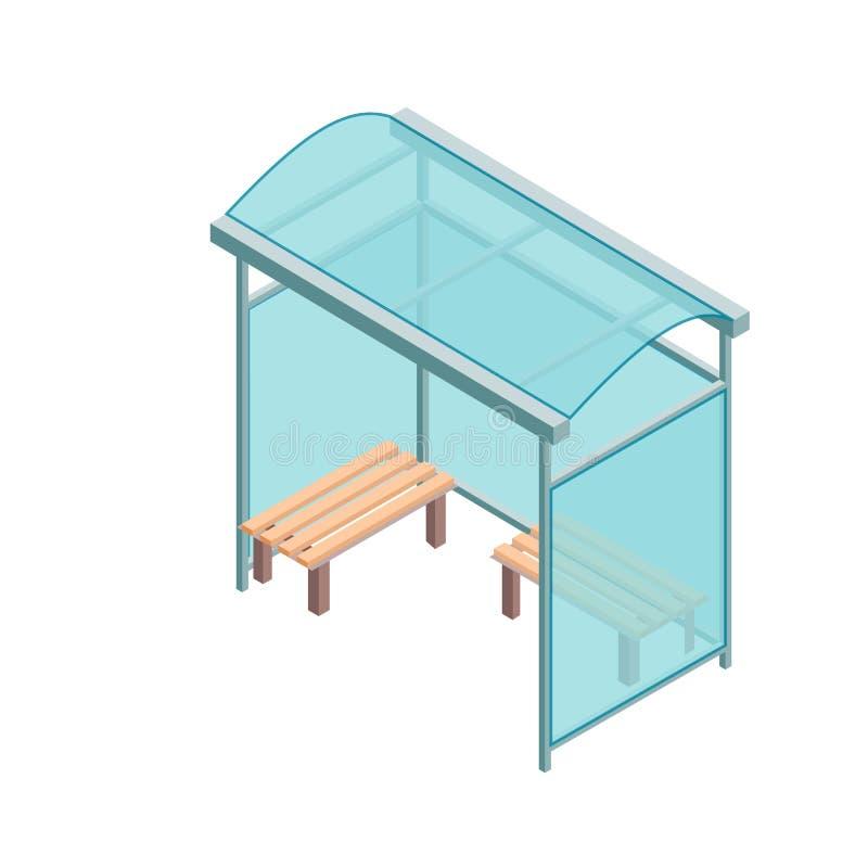 Isometrisk plan för vektorillustration för begrepp 3D hållplats för stad stock illustrationer