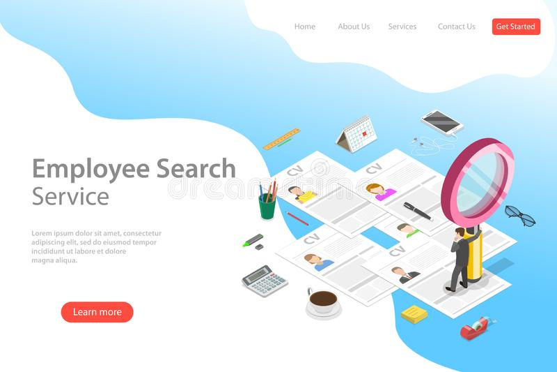 Isometrisk plan mall för vektorlandningsida av anställdsökandeservice stock illustrationer