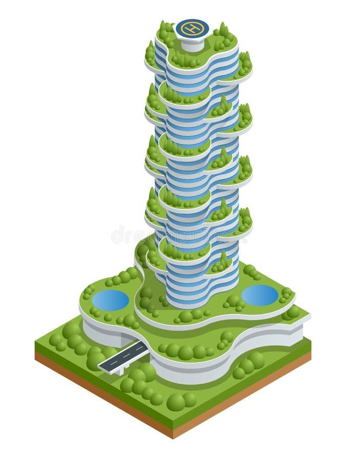 Isometrisk plan modern ecologic skyskrapa med många träd på varje balkong Ekologi- och gräsplanuppehälle i staden som är stads- stock illustrationer