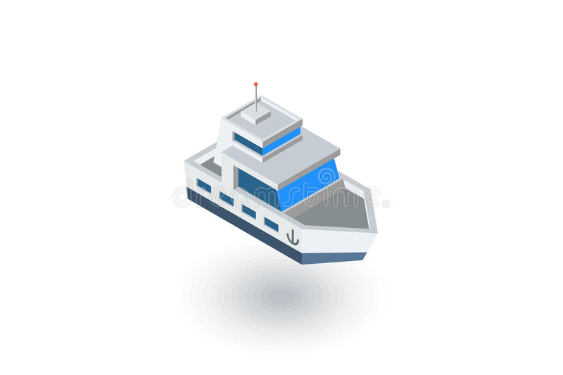 Isometrisk plan symbol för yachtfartyg vektor 3d stock illustrationer