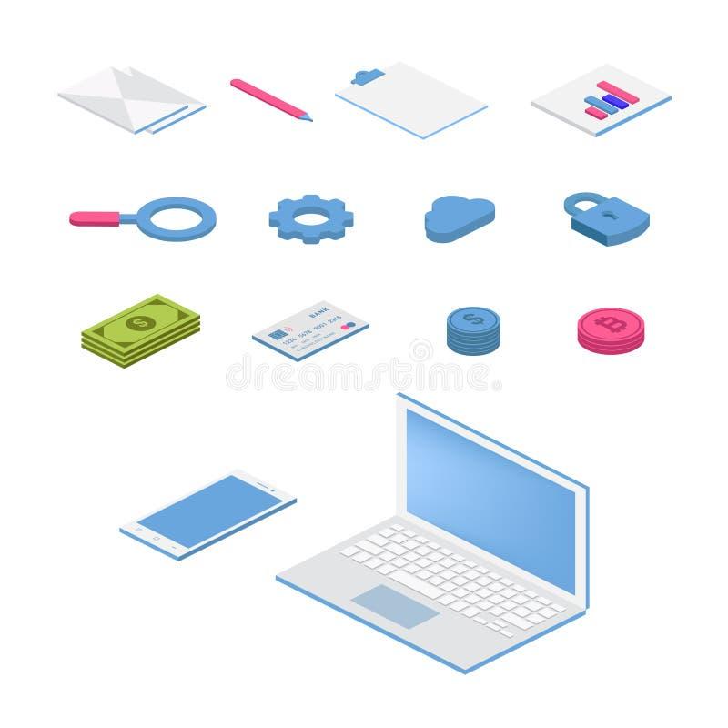 Isometrisk plan symbolsupps?ttning f?rgrik illustration f?r vektor 3d med SEO-symboler Digitalt nätverk, analytics, socialt massm stock illustrationer