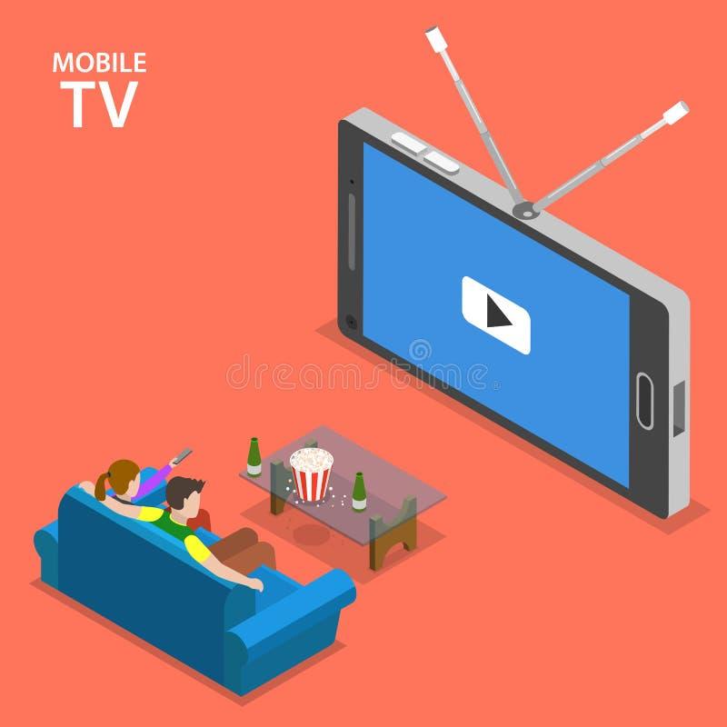 Isometrisk plan vektorillustration för mobil TV royaltyfri illustrationer