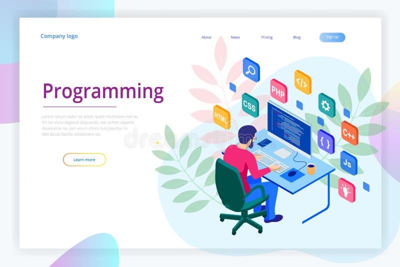 Isometrisk programmerare som kodifierar nytt projekt Rengöringsdukbärare som programmerar begrepp Landa sidan eller mobil website vektor illustrationer