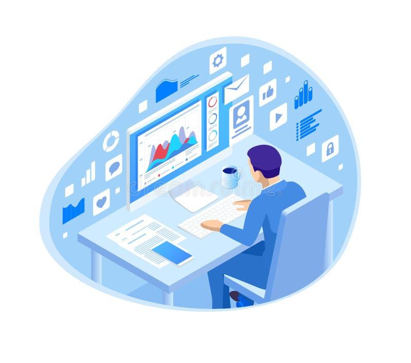 Isometrisk programmerare som kodifierar nytt projektsammanträde på datoren med kommandolinjen rengöringsdukutveckling som program vektor illustrationer