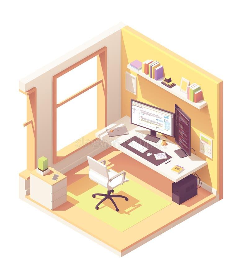 Isometrisk programmerarearbetsplats för vektor vektor illustrationer