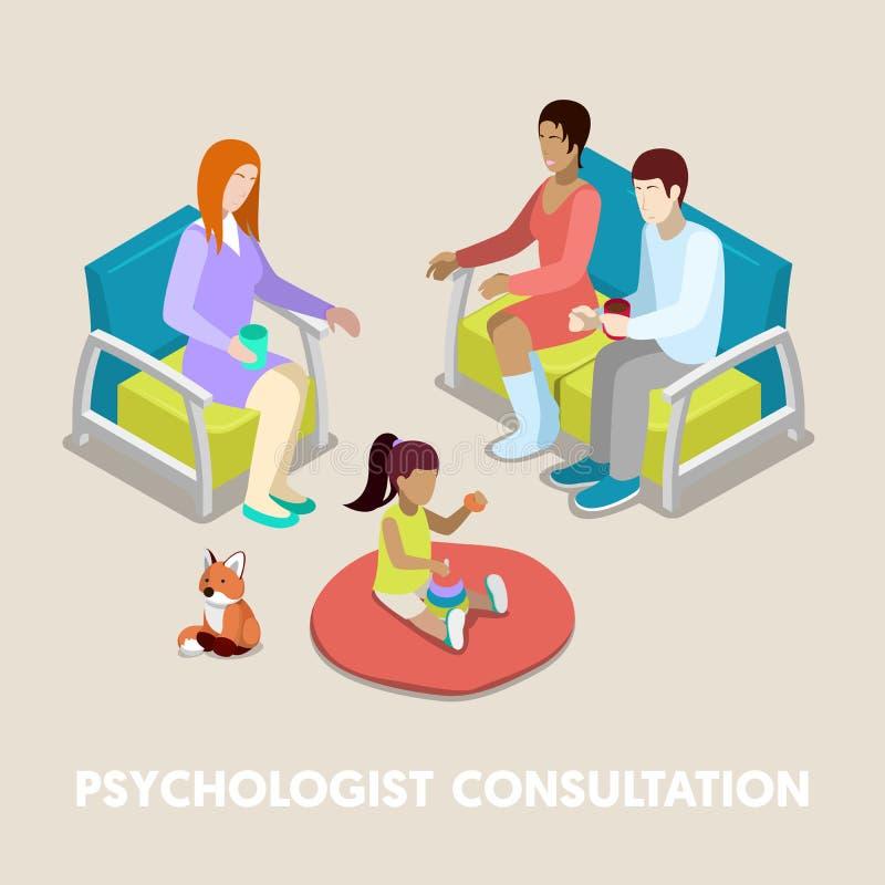 Isometrisk psykolog Consultation Familj på psykoterapi stock illustrationer