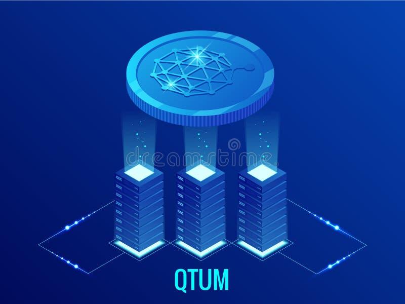 Isometrisk QTUM Cryptocurrency som bryter lantgården Blockchain teknologi, cryptocurrencyen och en digital betalning knyter konta stock illustrationer