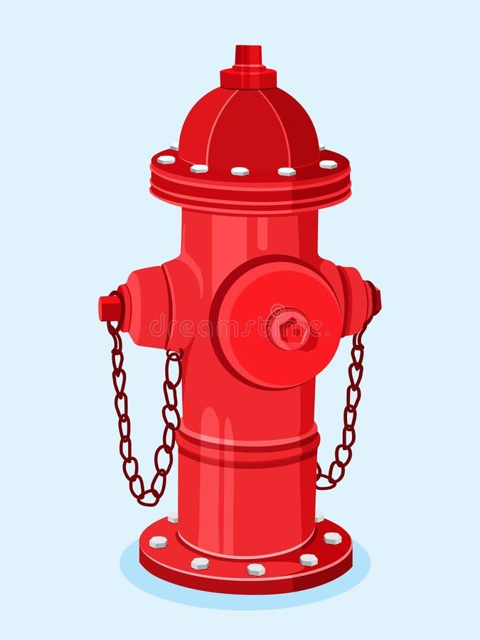 Isometrisk röd brandpostvektorillustration royaltyfri illustrationer