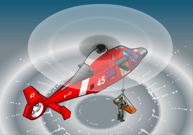Isometrisk röd helikopter i flyg i räddningsaktion royaltyfri illustrationer