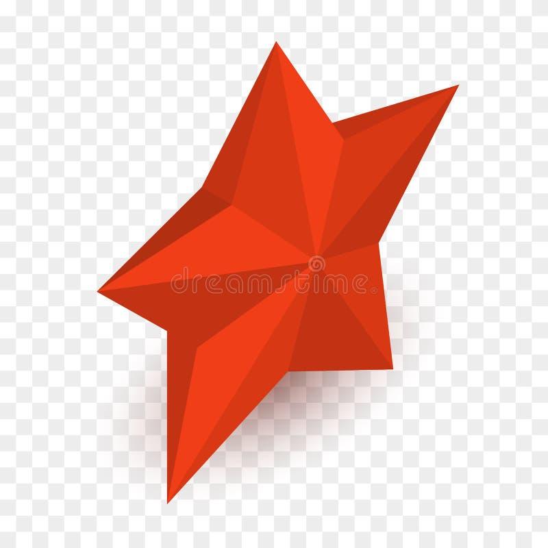 Isometrisk röd stjärna för vektor som isoleras på rutig bakgrund vektor illustrationer