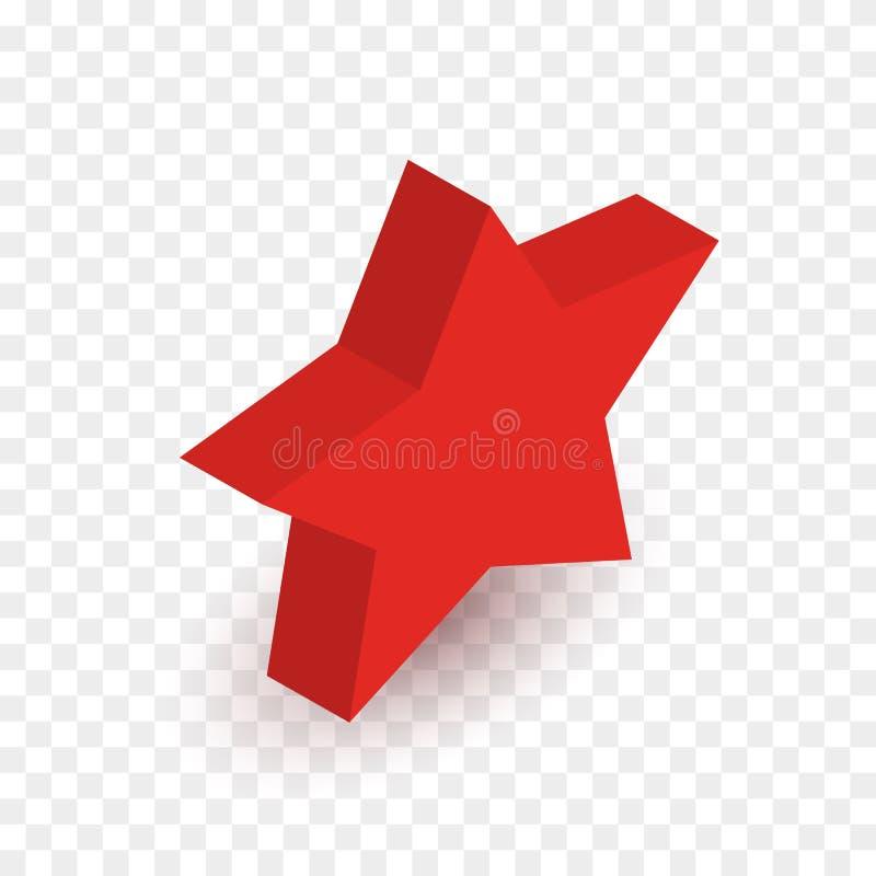 Isometrisk röd stjärna för vektor som isoleras på rutig bakgrund stock illustrationer