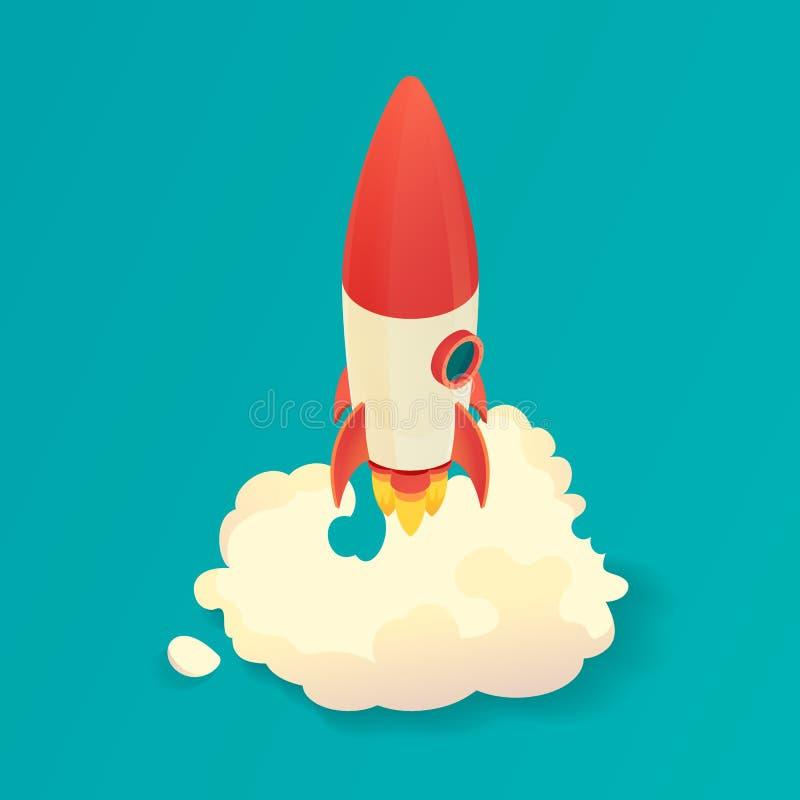 Isometrisk raketlansering Starta upp raketskeppet också vektor för coreldrawillustration royaltyfri bild