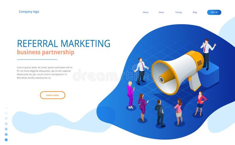 Isometrisk remissmarknadsföring, nätverksmarknadsföring, remissprogramstrategi som ser vänner, affärspartnerskap stock illustrationer