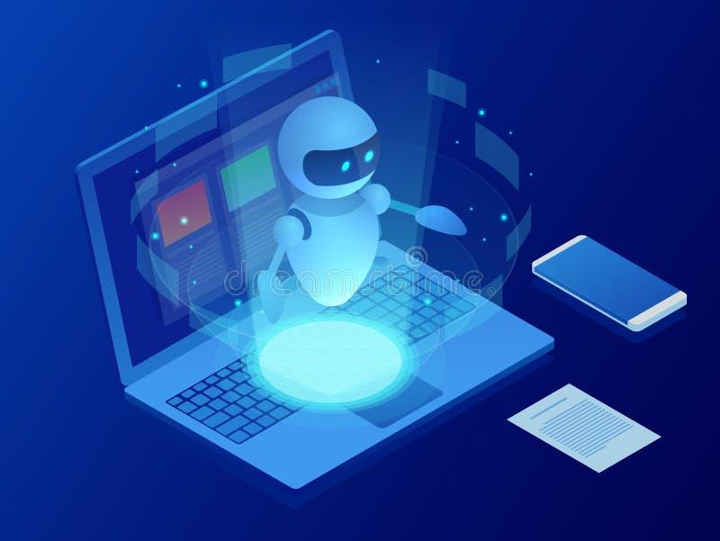 Isometrisk robot som lär eller löser problembegrepp För affärsvektor för konstgjord intelligens illustration vetenskap stock illustrationer