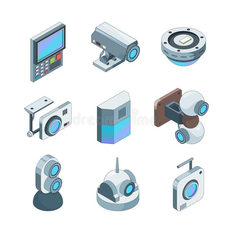 Isometrisk säker kam Illustrationer för vektor 3d för system för kameror för hem- säkerhet för Cctv elektroniska stock illustrationer