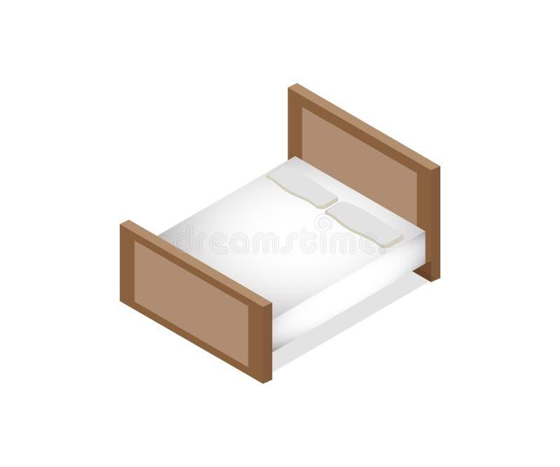 Isometrisk säng för format för konung för madrass en för vektorillustrationdubblett med madrassen arkivbild