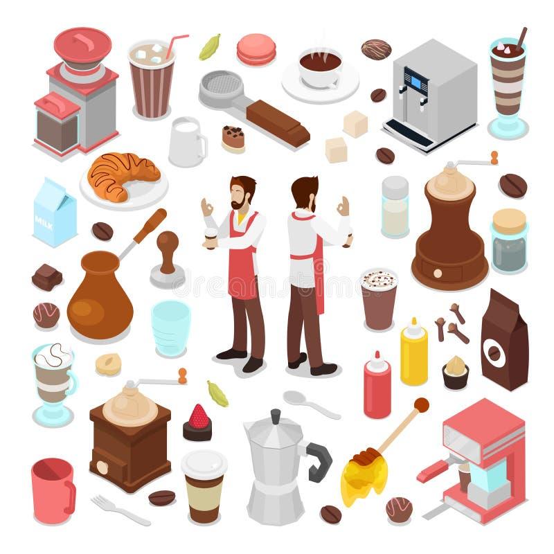 Isometrisk samling för bartender- och kaffekafébeståndsdelar vektor illustrationer