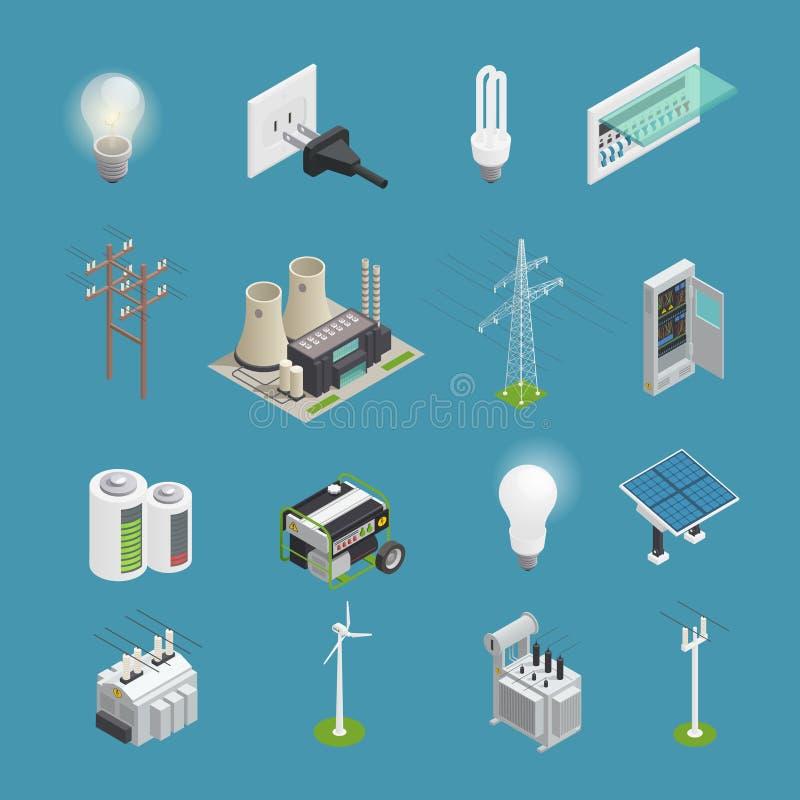 Isometrisk samling för elektricitetsmaktsymboler royaltyfri illustrationer