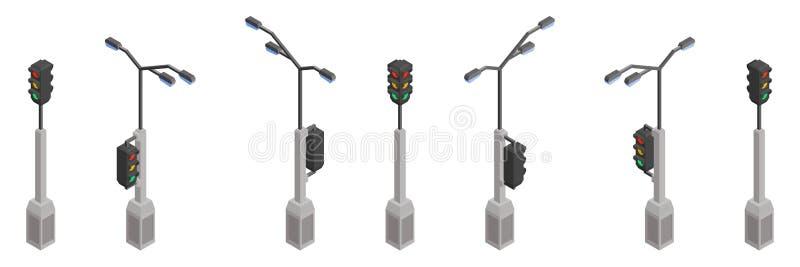 Isometrisk samling för gatapoltrafikljus royaltyfri illustrationer