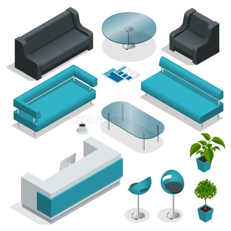 Isometrisk samling för kontorsmöblemang royaltyfri illustrationer