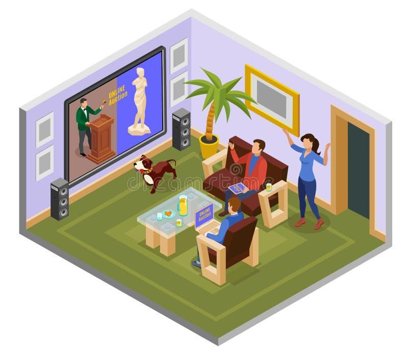 Isometrisk sammansättning för auktion stock illustrationer
