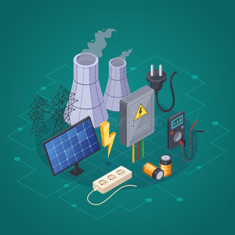 Isometrisk sammansättning för elektricitet vektor illustrationer
