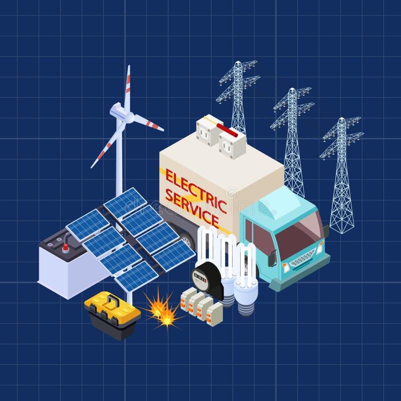 Isometrisk sammansättning för elektrisk servicevektor med energisäkerhetsbeståndsdelar vektor illustrationer