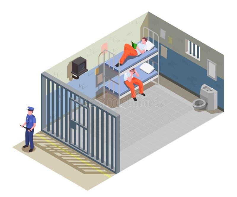 Isometrisk sammansättning för fängelsearrest royaltyfri illustrationer