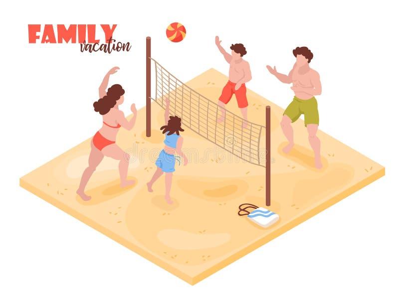 Isometrisk sammansättning för familjvolleyboll stock illustrationer