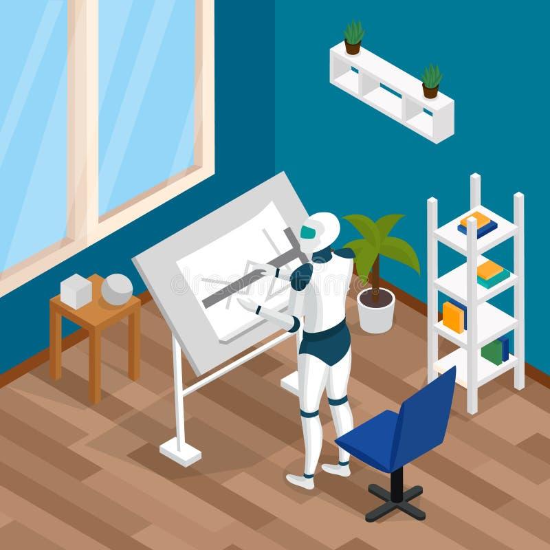 Isometrisk sammansättning för idérik robot vektor illustrationer