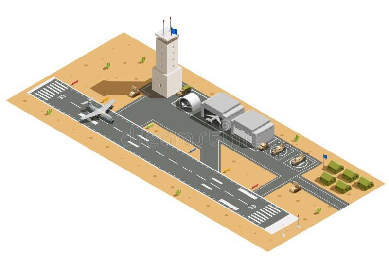 Isometrisk sammansättning för militär flygbas vektor illustrationer