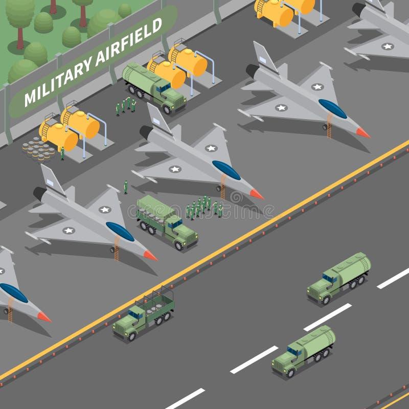 Isometrisk sammansättning för militärt flygfält vektor illustrationer