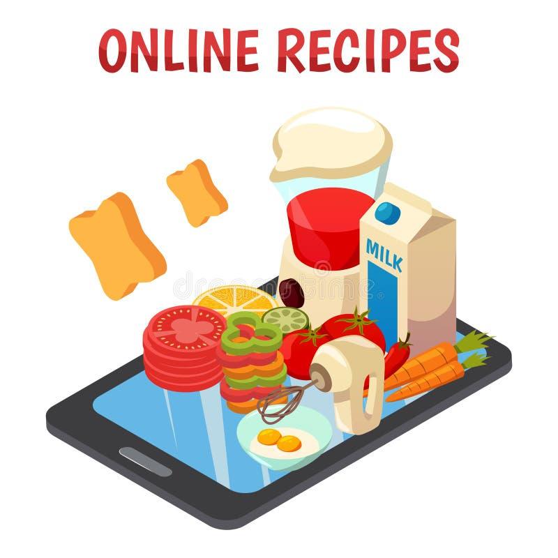 Isometrisk sammansättning för online-kulinariska recept stock illustrationer